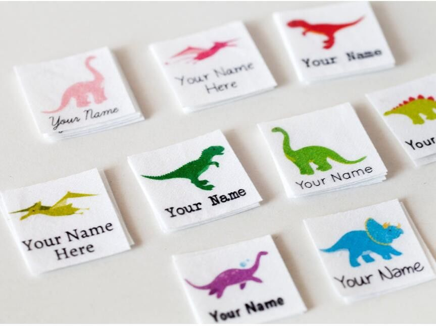 Kids Animal Design Custom Printed Clothing Labels Cotton Printed Dinosaur